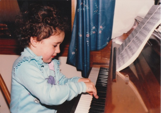 Erica Gibson, hittin' the keys at a young age.