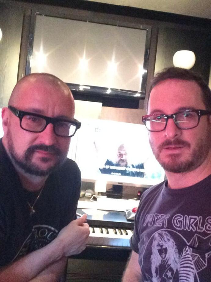Photo from Darren Aronofsky's Twitter, Aronofsky and Mansell working n the score for the upcoming film, Noah.