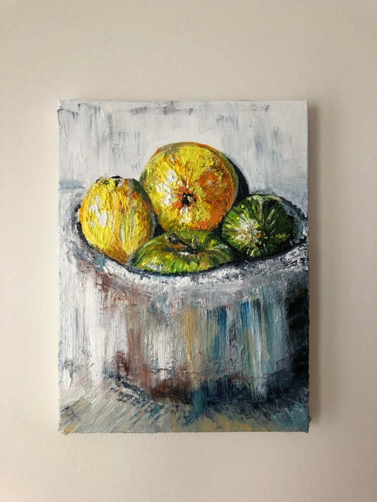 Painting of a bowl of fruit with lemons on top